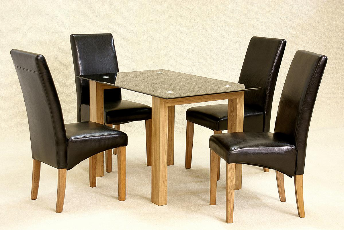 Viewing adina black dining set small 4 cyprus chairs for Small black dining table set