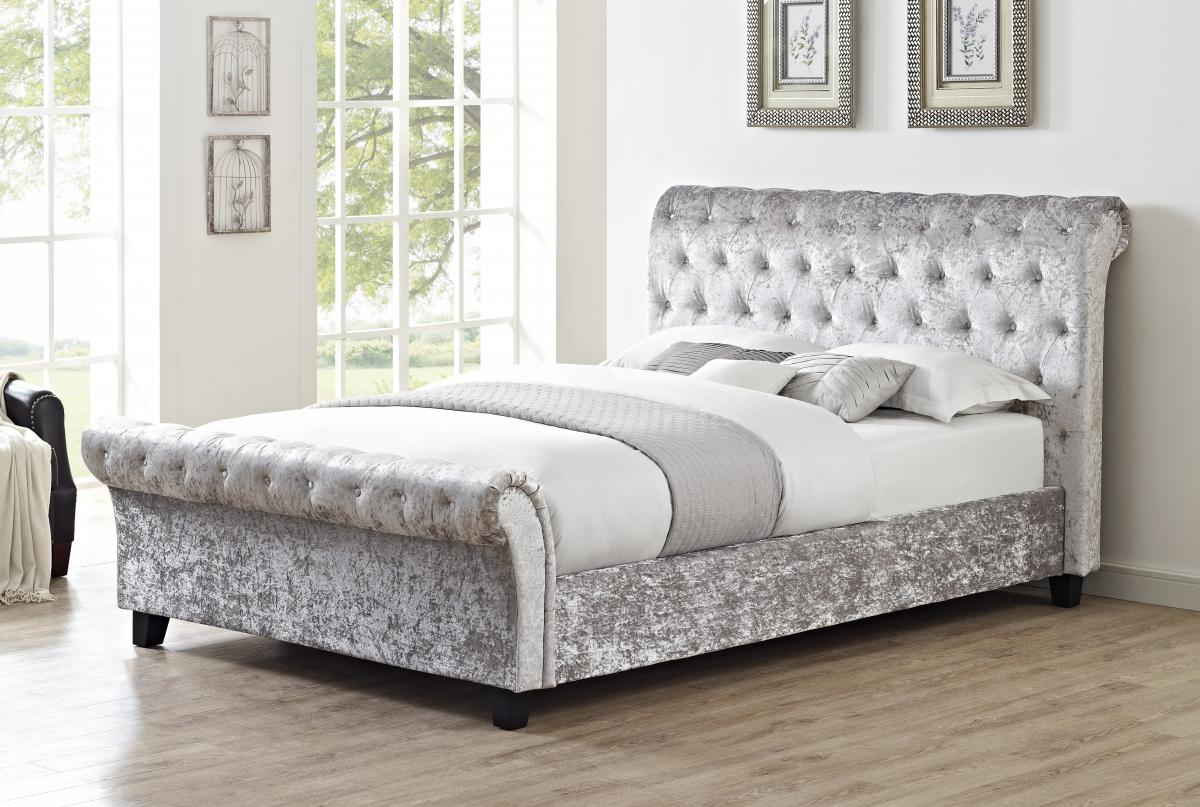 Viewing: Casablanca HFE Crushed Velvet King Size Bed Grey |Beds|King size Beds|Heartlands ...