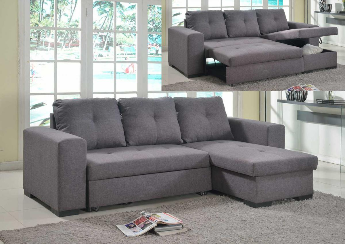 Viewing: Gianni Storage Chaise Sofa Bed Linen Grey