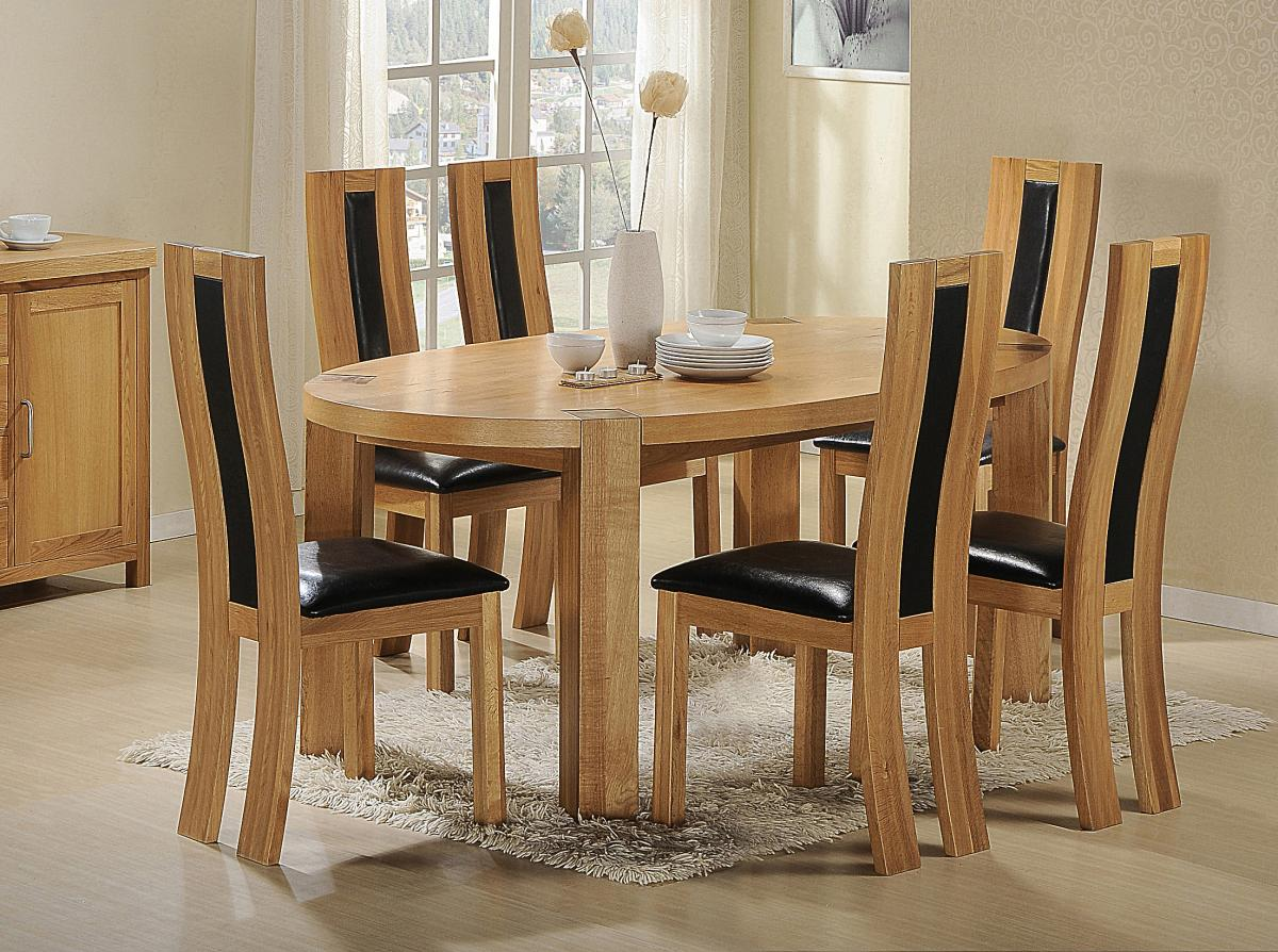 Viewing Zeus Oval Dining Set Oak 6 Chairs Dining Room