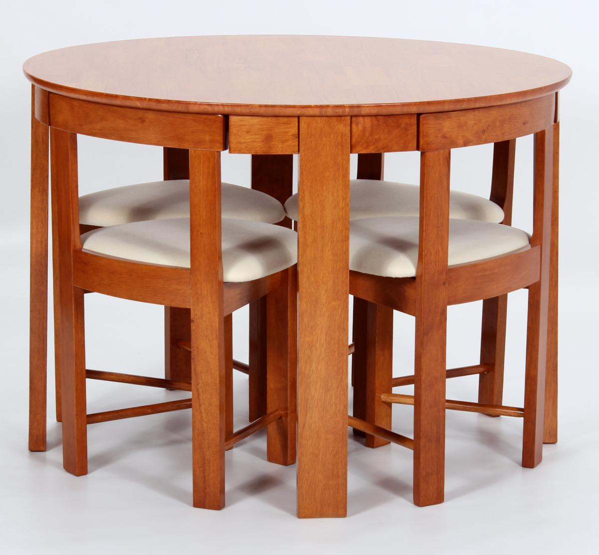 Compact Dining Table And Chairs: Compact Stowaway Round Brown Dining Table Set With 4