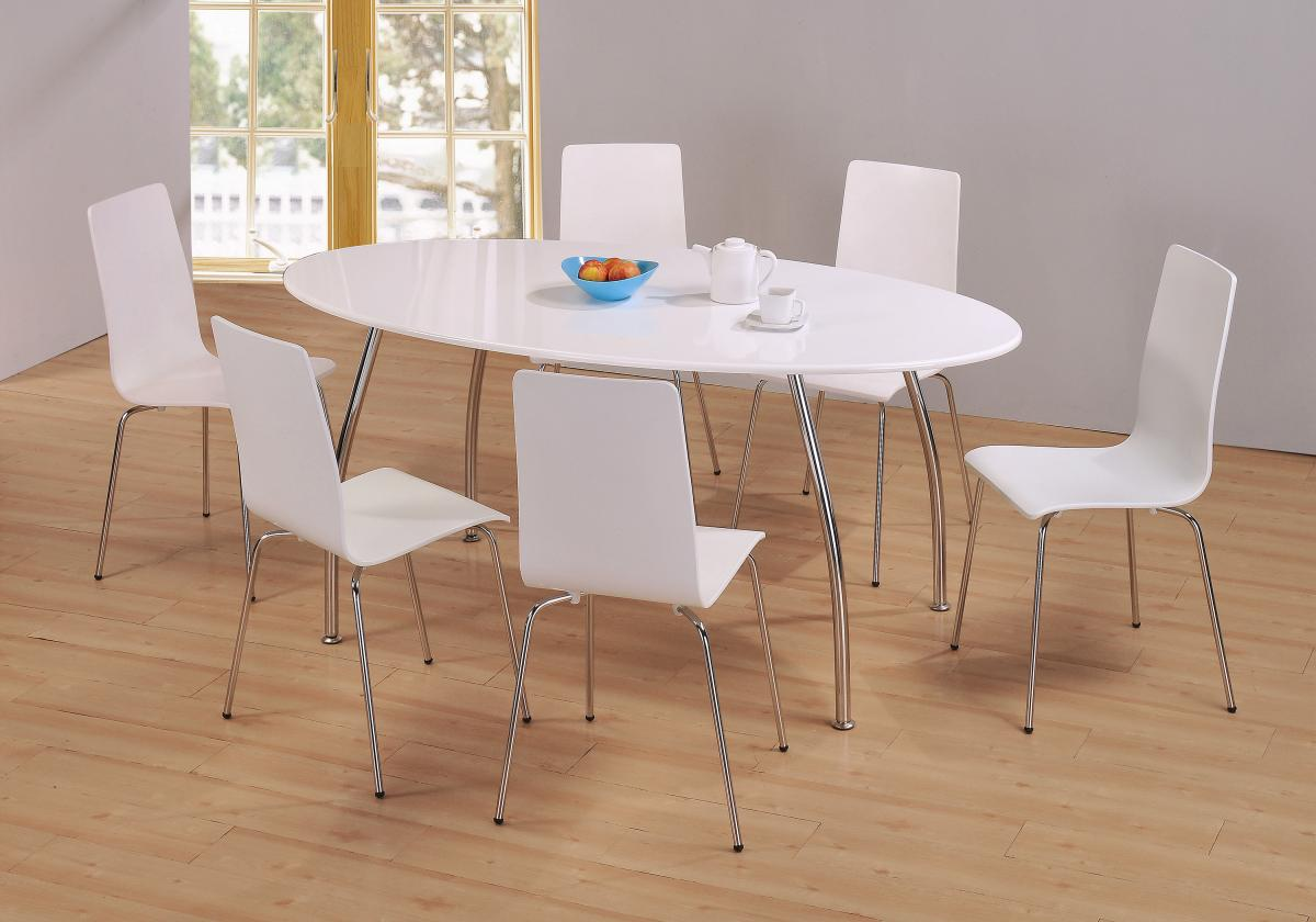 Incredible Details About Modern White Oval Dining Table Set With 6 White Chairs And Chrome Legs Theyellowbook Wood Chair Design Ideas Theyellowbookinfo