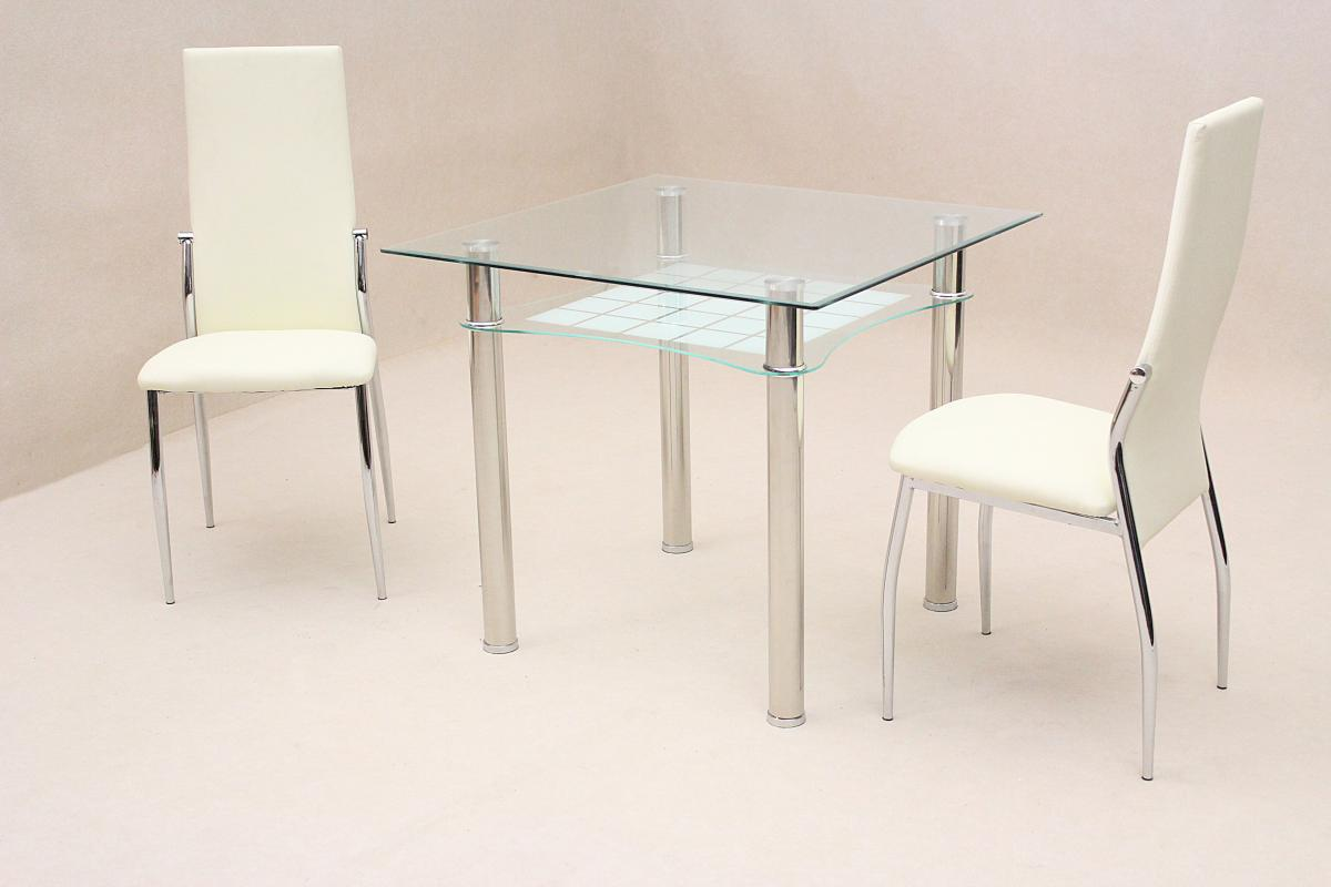Modern Glass And Chrome Dining Table Set With 2 White Chairs With